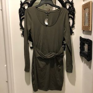 NWT Express Army Green Front Knot Minidress M